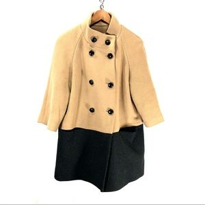 Coach long coat wool beige and black small